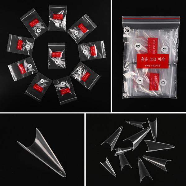 500st falska nagelspetsar 10 storlekar nagelspetsar stilett fransk akryli