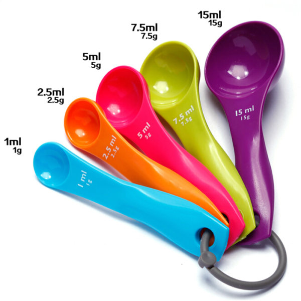 5PC Style Kitchen Colourworks Mätskedar Sked Cup Baking