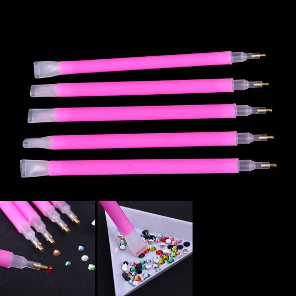5st / uppsättning Dual-ended Nail Art Rhinestone Gem Picker Pink Dotting