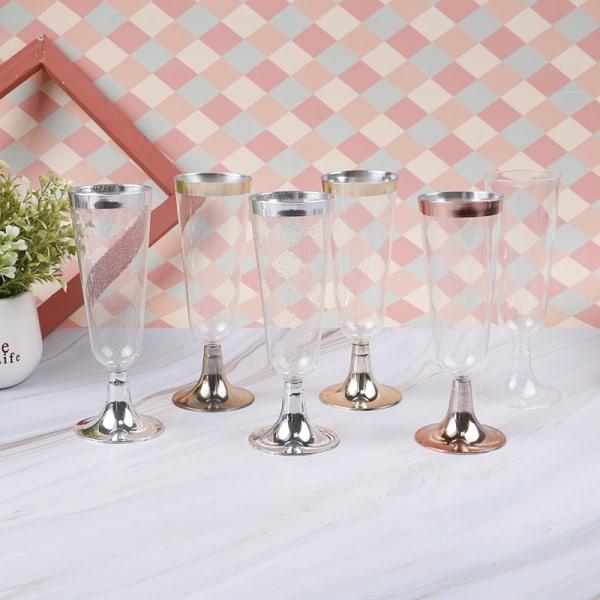 6st engångs rött vinglas plast champagne flöjter glasögon Rose Gold