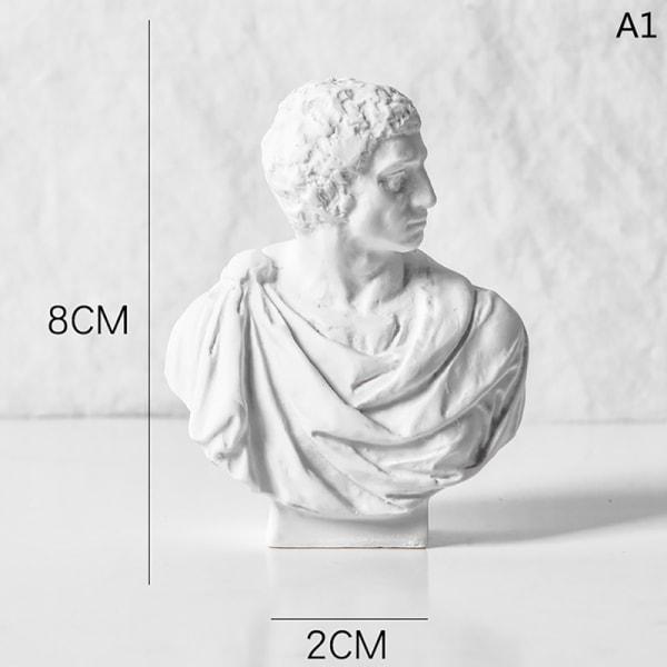 8 cm nordisk stil grekisk mytologi statyett gipsporträtt minia A1