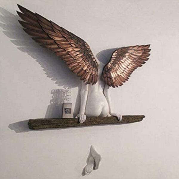 Angel Art Sculpture Wall 3D Statue för vardagsrumsdekor