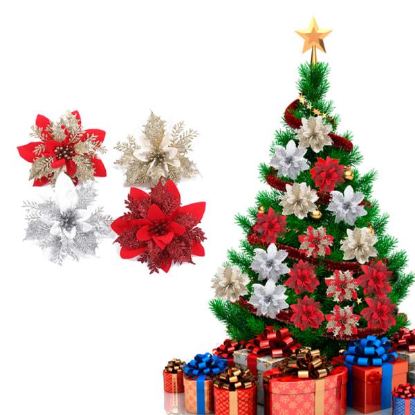 Konstgjorda julblommor glitter falska blommor god jul