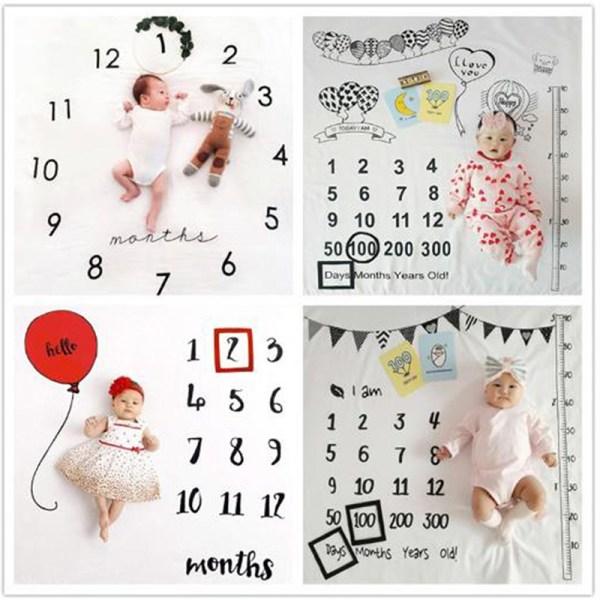 baby månatliga milstolpe foto rekvisita bakgrund filt unisex pho F