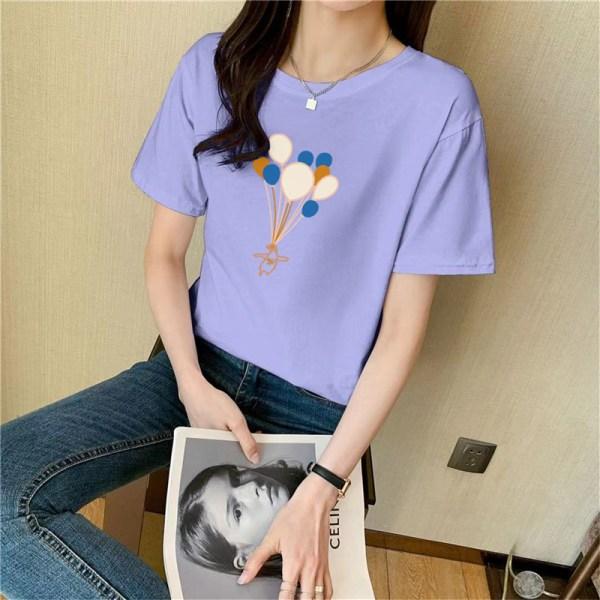 Ballongtryck bomull kortärmad t-shirt topp kvinnor sommar