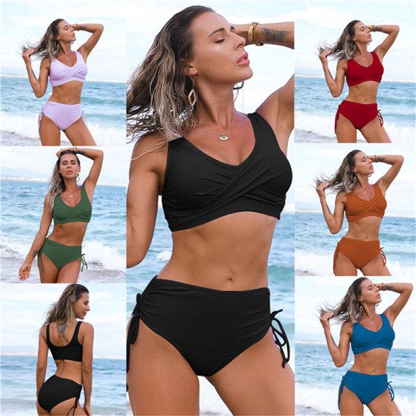 bikini baddräkt kvinnor 2st hög midja push up badkläder tankini b Army green XL