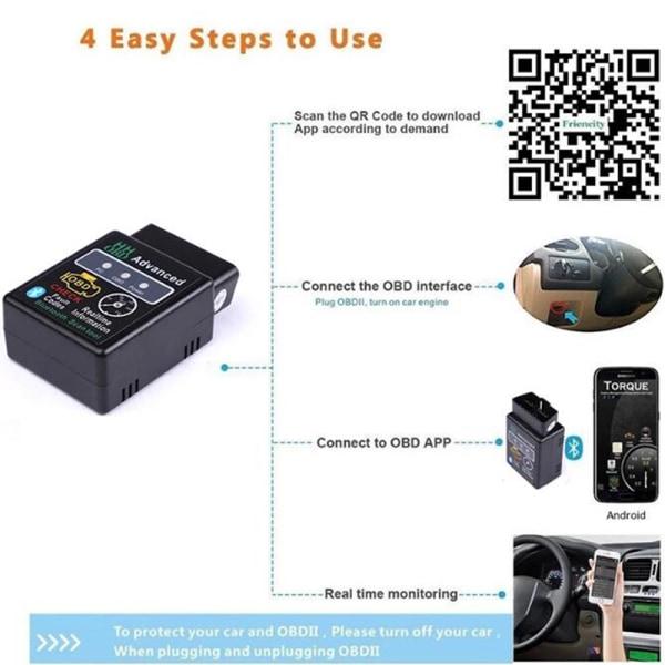 bil diagnostiskt verktyg v2.1 Bluetooth bildetektor stöder Android