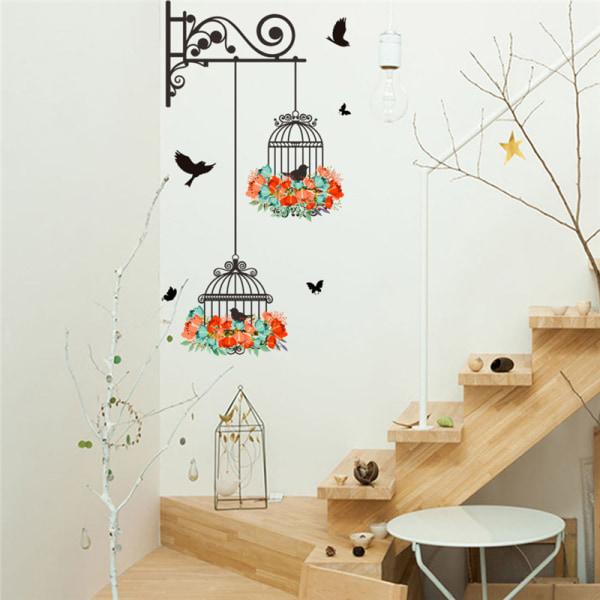 färgglada blommor fågelbur väggdekaler dekaler flygande fåglar växt