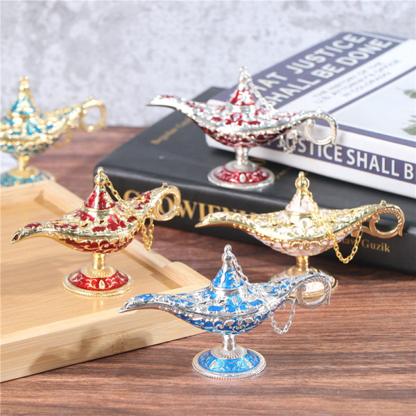 Craft Zinc Alloy Classic Metal Carved Aladdin Lamp Wishing Tea O