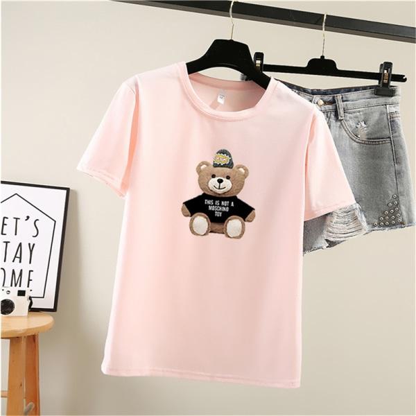Söt björntryck damer T-shirt kortärmad topp sommar