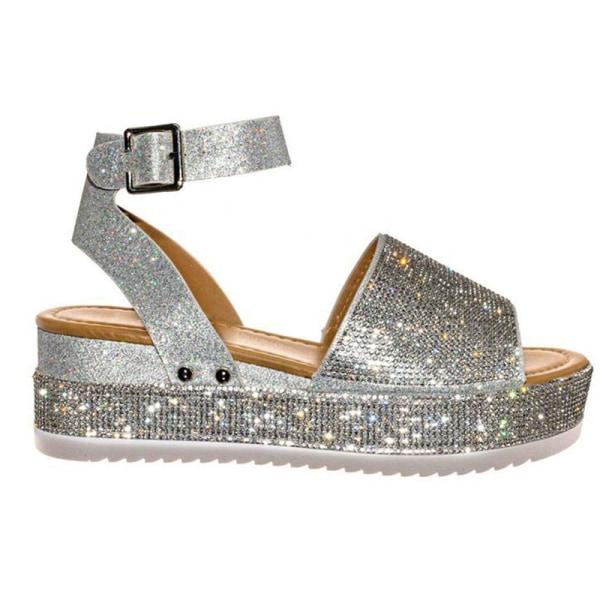 dam sandaler komfort plattform tjocka tofflor kristall sandaler vara Silver 39