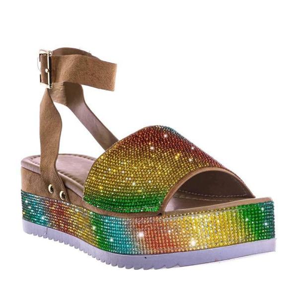 dam sandaler komfort plattform tjocka tofflor kristall sandaler vara Silver 41
