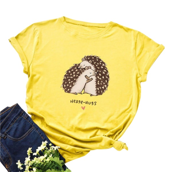 dam t-shirt plus storlek topp igelkott kram tryck o-hals kort ärm Yellow 3XL