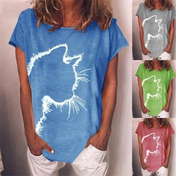 damer bomullstryckt kort ärm rund hals t-shirt casual l Blue M