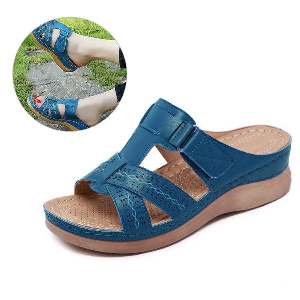 damer kvinnor ortopedisk häl slip på öppen tå mulor sandaler sko Blue 39