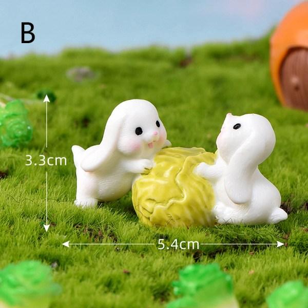 DIY mini miniatyr fe trädgård trädgård dekor kanin dockhus