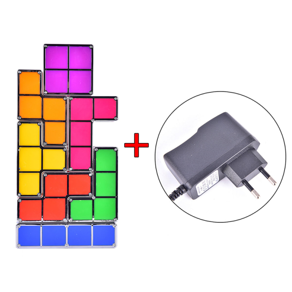 DIY Tetris Night Light Färgglada stapelbara Tangram Puzzles 7 Pie