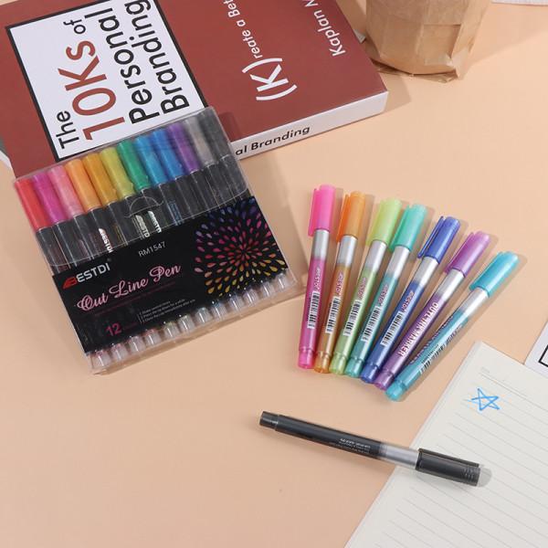 Double Line Outline Art Pen DIY Graffiti Outline Marker Pen För
