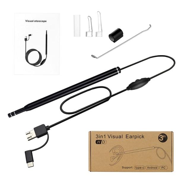 öron rengöring endoskop sked mini kamera öronplockare öron vax remo Black