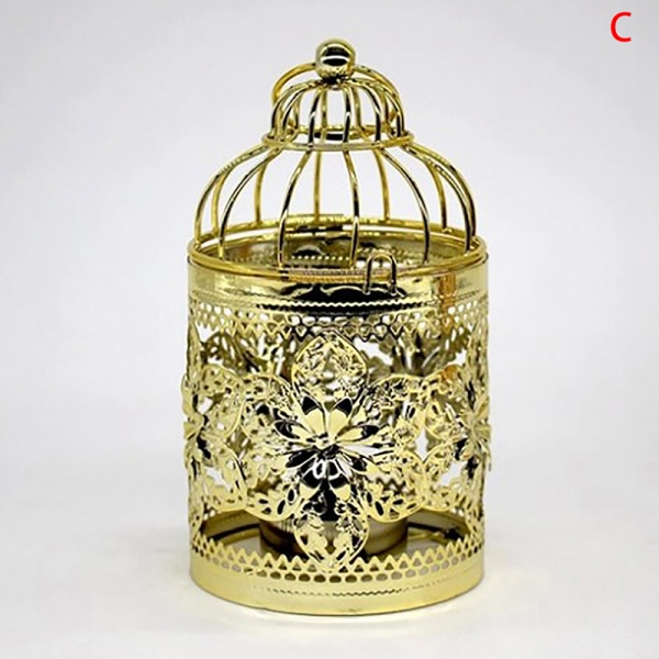 europa gyllene ihåligt metallmönster cylinderljushållare weddin C1