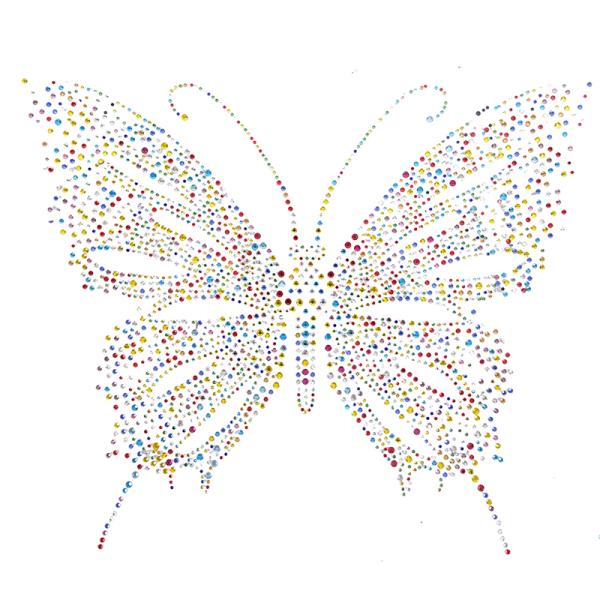 färgglada fjäril hotfix rhinestone värmeöverföringsjärn sömnad r Multicolor 31.5cmx25.5cm