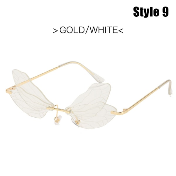 Fashion Dragonfly Solglasögon Kvinnor Rimless Wave Eyewear Luxury T