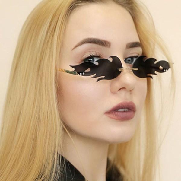 Mode Fire Flame Solglasögon Kvinnor Rimless Wave Eyewear Luxury