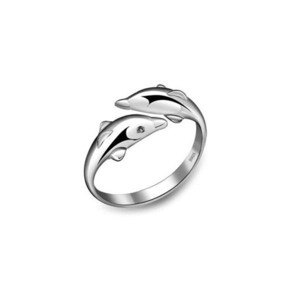 äkta 925 sterling silver slät yta söt djur delfin a