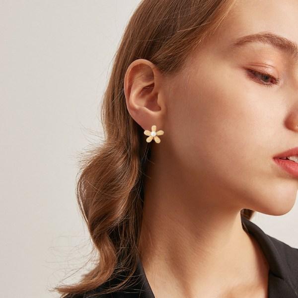 geometriska blommor guld dingla örhängen för kvinnor lyxiga bladörat