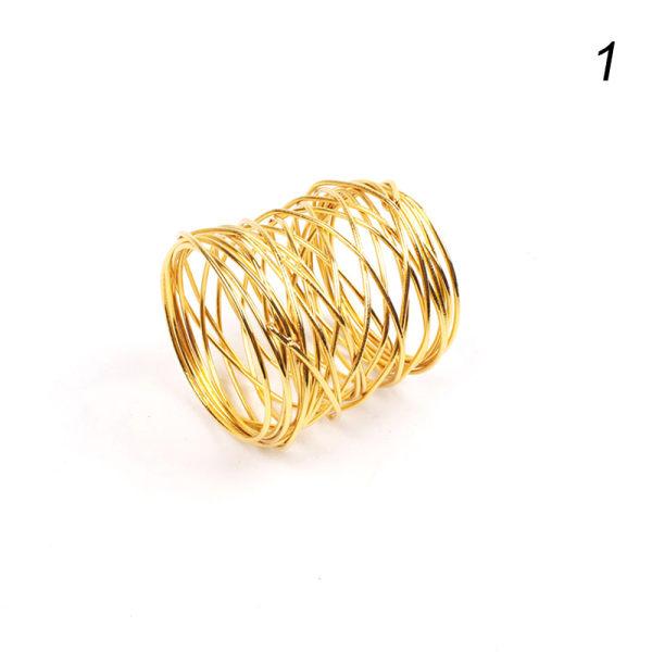 Guld Servettringar Metal Cross Hollow Sliver Servetthållare för P