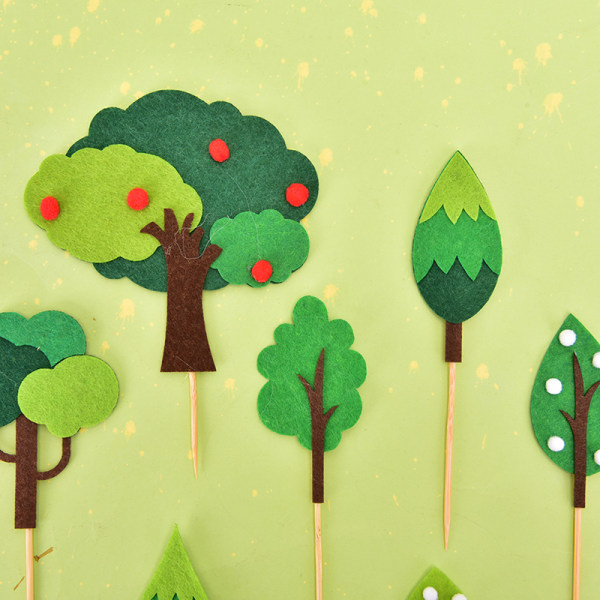 grön filt träd lämnar set födelsedagsfest kaka topper efterrätt ca C