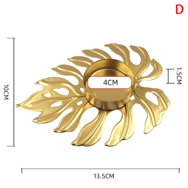 gyllene blad ljusstake i smidesjärn liten ihålig romantisk burk D