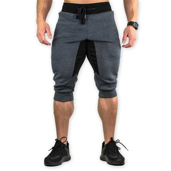 herrsportsgymnastikshorts medellånga byxor elastiskt band zi Black 2XL