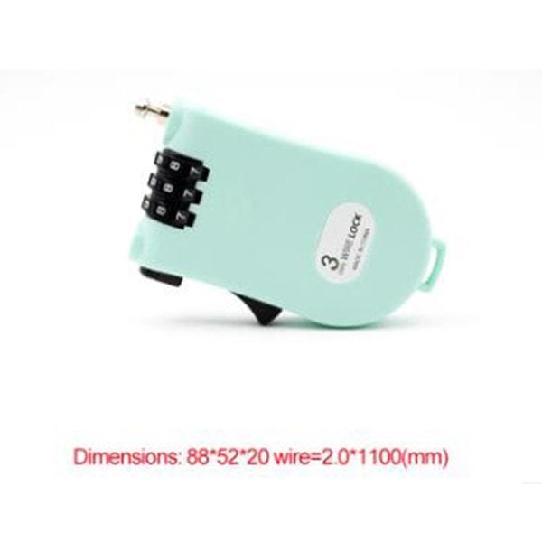 infällbar cykelkombination kabelkodslås hjälm bagage p Blue