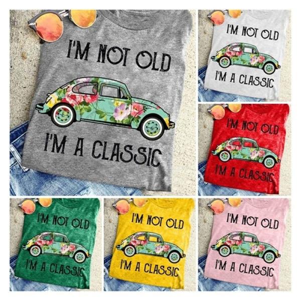 jag är inte gammal Jag är en klassisk retrostil skjorta vintage bil grafik Red 2XL