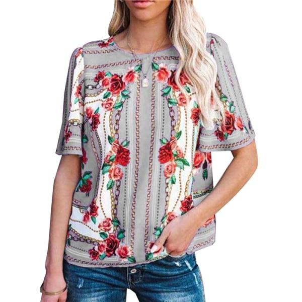kortärmad blusskjorta blomma tryck skjortor casual kvinnor o nec Purple 4XL