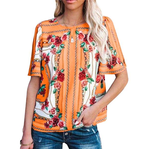 kortärmad blusskjorta blomma tryck skjortor casual kvinnor o nec Purple 5XL