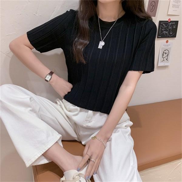 kortärmad t-shirt för kvinnor rund krage is silke kort ärm c Purple