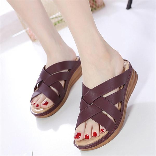 kvinnasandaler med hög kvalitet ortopediska öppna skor halkskydd plat Purple 37