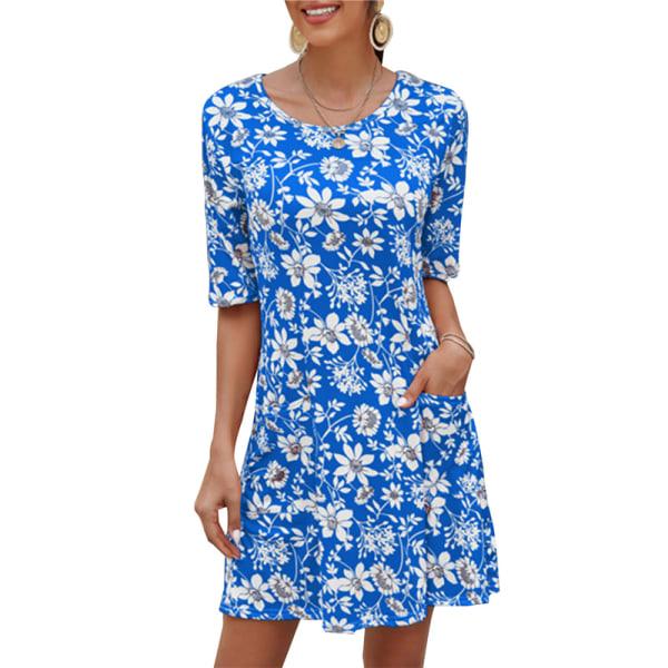 kvinnor casual klänning vintage blommigtryckta kortärmade fickor m Red 2XL