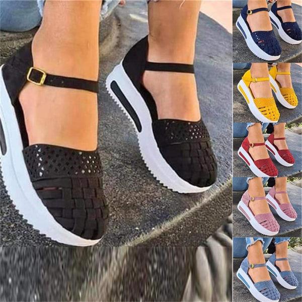 kvinnor ihåliga sandaler sommar platt häl sömnad öka platfo Light blue 43
