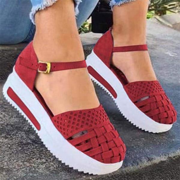 kvinnor ihåliga sandaler sommar platt häl sömnad öka platfo Blue 37