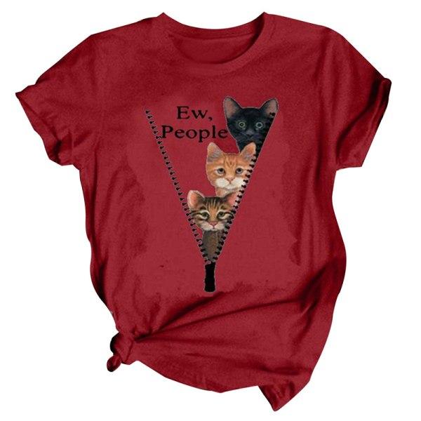 kvinnor kortärmad söt streetwear tecknad kattutskrift grafisk tee Red 3XL