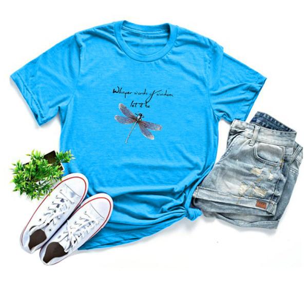 kvinnor slända tryck o-hals plus storlek t-shirts kortärmad tee Green L