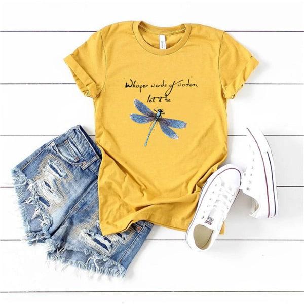 kvinnor slända tryck o-hals plus storlek t-shirts kortärmad tee Orange M