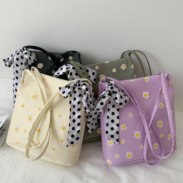 kvinnors handväska daisy silk scarf sling bag axelväska tote Black