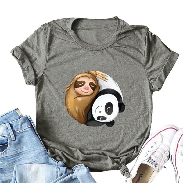 Kvinnors o-ringade kortärmade T-tröjor sloth panda rolig t-shirt Fluorescent green XL