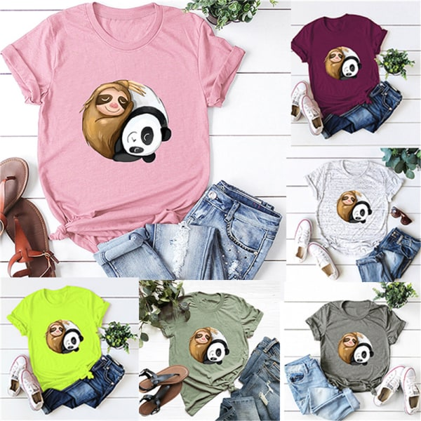 Kvinnors o-ringade kortärmade T-tröjor sloth panda rolig t-shirt White 3XL
