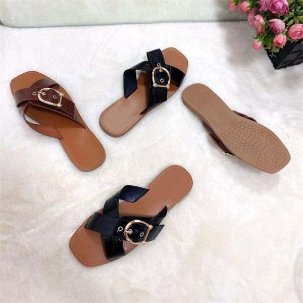 kvinnors skor mode öppna tå platta sandaler utomhus casual slipp Black 37