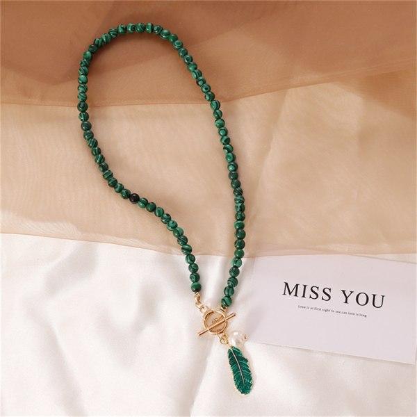 malakitlegering lämnar pärla droppe olja kvinnor halsband sten penda Bracelet